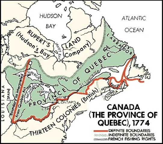 Quebec Act of 1774 regional map